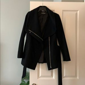 Express black wool coat with belt size XS